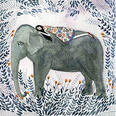 Image via We Heart It #artsy #cute #drawing #elephant #girl #ride