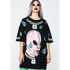 Fake Trash Gimp Tee ($72) ❤ liked on Polyvore featuring tops, t-shirts, graphic design tees, graphic print tees, graphic print t shirts, fake t shirt and hand printed t shirts
