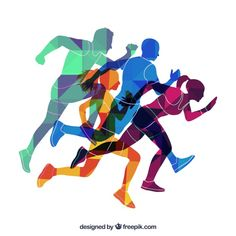 Colored silhouettes of runners Free Vector Ab Workout At Home, At Home Workouts, Ab Workouts, Marathon Laufen, Sport Logos, Sport Photography, Sport Motivation, Kids Sports, Sports Games