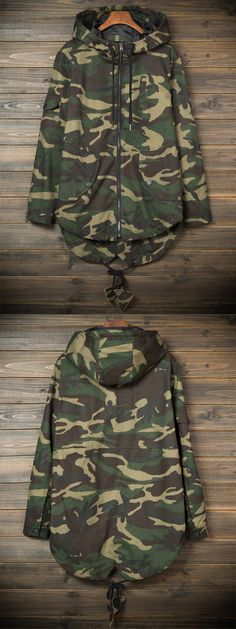 Hooded Pockets Camouflage Lightweight Coat