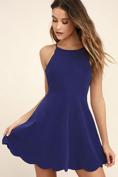 The Play On Curves Royal Blue Backless Dress is one you'll cherish forever with straps that cross and tie over an open back. Flaring skirt is finished with a scalloped hem. Blue Homecoming Dresses, Hoco Dresses, Dresses For Teens, Club Dresses, Pretty Dresses, Casual Dresses, Halter Dresses, Teen Dance Dresses, Cute Teen Dresses