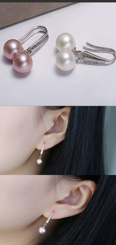 Details about  /FENASY Pearl earring Pearl with 925 Sterling Silver earrings,wedding Birthday