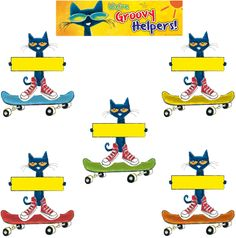 "Pete the Cat Groovy Classroom Jobs Mini Bulletin Board - Get students excited about helping out in the classroom with this groovy job chart starring Pete! Includes 10 Pete sign pieces for jobs, 36 skateboards for student names, and ""We're Groovy Helpers!"" banner. Simply rotate the skateboards under the Pete pieces to assign jobs for the day or week. Includes teacher guide with activities and reproducibles. Set of 47 pieces. Largest piece measures 21"" x 6""."