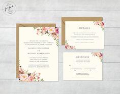 Rustic Wedding Invite Floral Wedding Invitation Boho Wedding