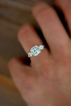 Aquamarine and White Sapphire Cushion Cut Gemstone Ring in Recycled and Tarnish Resistant Sterling Silver
