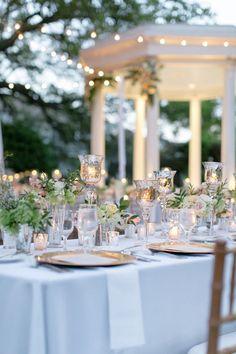 Outdoor garden wedding reception with bistro lights | Arte De Vie | see more on: http://burnettsboards.com/2016/02/orleans-mansion-wedding/