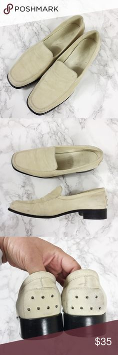 Suede TOD'S Loafers Cream suede TOD'S loafers. Some scuffs due to wear but plenty of life left in them. Shoes Flats & Loafers