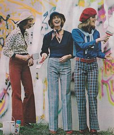 Just Seventeen =September 1973. 'Pants of Avondale's cotton denim and cotton/ polyester blends.' ~ Maverick