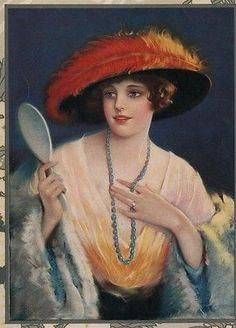 mirror Vintage woman holding