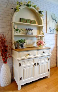 Gorgeous Small Dutch Priory Old Charm Linenfold & Rose Dresser Painted in…