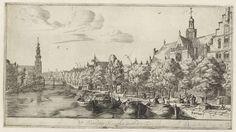 Reinier Nooms | Noordermarkt met de Noorderkerk, Reinier Nooms, 1657 - 1662 | Gezicht op Prinsengracht met de Noordermarkt en de Noorderkerk, links de Westertoren.