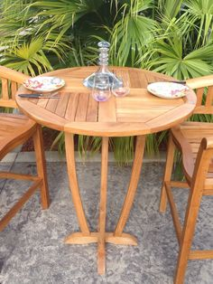 Teak Miami Round Outdoor Patio Bar Table Made from Solid A-Grade Teak Wood