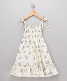 Blue English Rose Sundress by Fantaisie Kids #zulily #girls fashion #girls style #toddler fashion