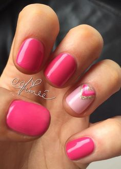 Summer gel nails, pink nails