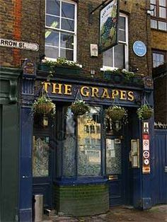 """The Grapes, Narrow Street, Limehouse -- the pub fictionalized by Dickens as the """"Three Jolly Fellowship Porters"""" in Our Mutual Friend ..."""