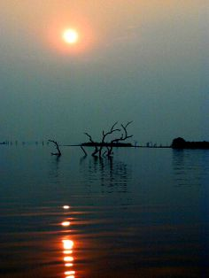 Sunset over Starvation Island, Lake Kariba.  http://theexplorerclubafrica.com/tours/the-three-wonders-of-africa-14-days.php