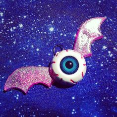 Pink Eyeball Bat Resin Necklace, Pastel Goth, Creepy Cute, Fairy Kei on Etsy, £6.17