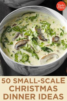 50 Small-Scale Christmas Dinner Ideas Spinach Stuffed Mushrooms, Stuffed Peppers, Green Beans With Bacon, Mushroom Soup Recipes, Food Dishes, Main Dishes, Soups And Stews, Denver Colorado, Christmas Recipes