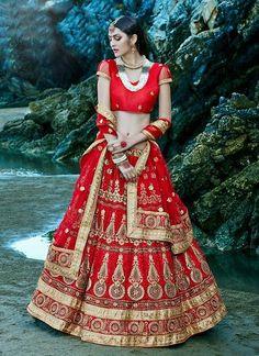 Women's Net Fabric & Deep Scarlet Pretty Circular Lehenga Style With Resham Work Dupatta