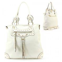 Buy New: $41.99: Balenciaga Style Spikes / Tassels Purse and Bag / Handbag / Cream / Rchmmsbg98229crm