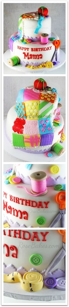 Sewing Quilting Cake by RoseBakes.com