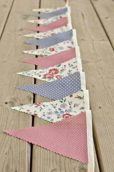 Timeless  - Vintage Bunting Banner with 12 Flags. $22.00, via Etsy.