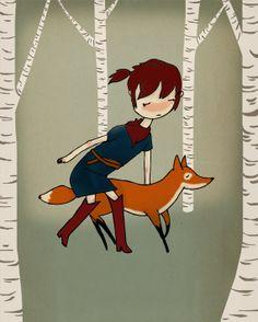 Through The Woods - Illustration Print via Etsy