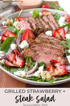 Introducing one of our favorite grilling recipes: Grilled Steak and Strawberry Salad with Strawberry Vinaigrette! It's a delicious & filling salad recipe for summer. #strawberries #steak #saladrecipes #salads #grilling Fresh Salad Recipes, Salad Dressing Recipes, Healthy Salad Recipes, Healthy Food, Grilling Recipes, Beef Recipes, Real Food Recipes, Cooking Recipes, Diabetic Recipes