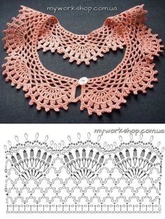 Best 12 Crochet Lace Collar FREE Pattern from dancingbarefoot (Mingky Tinky Tiger + the Biddle Diddle Dee – SkillOfKing.Free crochet chandelier necklace pattern with video tutorial from bhooked by britanny featured in recent sova enterprises com ne Crochet Collar Pattern, Col Crochet, Crochet Lace Collar, Crochet Patron, Crochet Lace Edging, Crochet Chart, Crochet Stitches, Crochet Patterns, Crochet Edgings