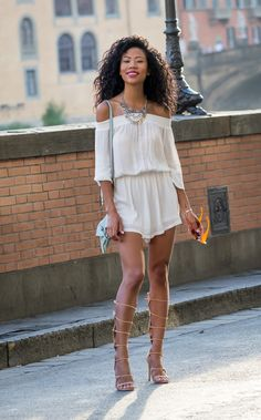 Firenze SunsetGET THE LOOK: • Off-The-Shoulder Romper c/o Dynamite Clothing • Statement Necklace c/o Dynamite Clothing (similar) • Cirella Heels from Aldo • Cross body bag (similar) Fashion By Blasian...