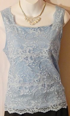 Womens  Dressbarn Blue Lace Shirt Size M Lined Top Square Neck  #Dressbarn #TankCami