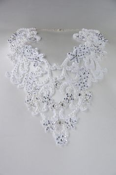 #weddings #bridal #bridalaccessories #necklace #bride #accessory  Another of my latest creation, an #applique  necklace in Ivory heavily encrusted with pearls, crystals & class  silver ab coated seed beads... stunning piece that really makes quite a statement!