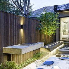 "Project: ""Floating BBQ and cantilevered water feature Contemporary Garden Design, Landscape Design, Porches, Outdoor Spaces, Outdoor Living, Front Courtyard, Built In Bbq, Outdoor Kitchen Design, Terrace Garden"