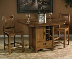 Arts & Crafts Rectangular Counter Height Pedestal Table Dining Room Set | Hekman | Home Gallery Stores