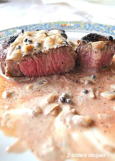 Filet Mignon with Cognac Peppercorn Sauce - 2 Sisters Recipes by Anna and Liz Filet Mignon Sauce, Filet Mignon Roast, Sauce Recipes, Meat Recipes, Wine Recipes, Cooking Recipes, Best Meat Dishes, Main Dishes, Creamy Peppercorn Sauce