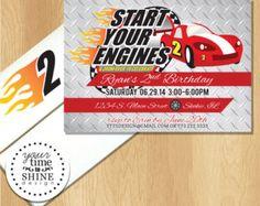 Race Car Birthday Invitation with Custom Printed Envelopes