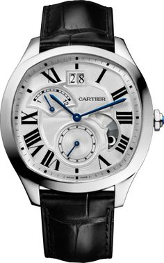 Drive de Cartier watch, Large Date, Retrograde Second Time Zone and Day/Night Indicator Steel, leather