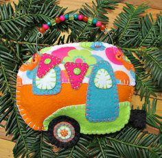 Wool Felt Glamping Camper Ornament Hanger Orange by FHGoldDesigns Christmas Crafts, Christmas Ornaments, Blanket Stitch, Coordinating Colors, Felt Ornaments, Glamping, Wool Felt, Sewing Ideas, Rv