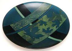 Aqua Maple Bowl by Richard Parrish, Kiln Formed Art Glass