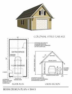 1 Car Garage Plan 544-3 by Behm Design. It's hard to find a colonial style garage plan. This one has extended depth dimension for work, shop or storage area and a stand up at center attic.