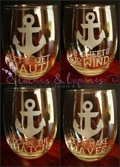 Nauti Stemless Wine Glasses  Anchor Wine by LilacsandLupines