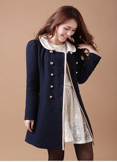 Beaded round neck double-breasted woolen coat