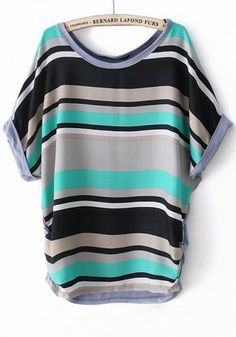 Green Striped Irregular Bat Sleeve Cotton T-Shirt -looks great with dark blue or black trousers