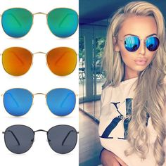 Round Mirrored Lens Sunglasses