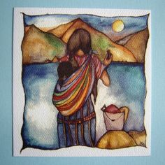 Print of Watercolor Guatemalan Mother and Child, by Guatemalan artist, Claudia Tremblay.