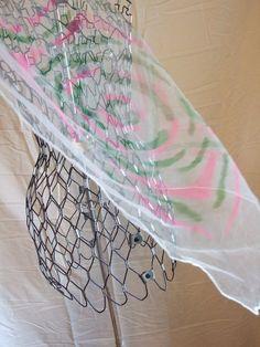 Vintage 70's Sheer Pink & Green Print Head Scarf by POPWILDLIFE, $12.00