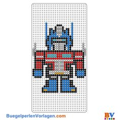 Transformers Bügelperlen Vorlage - use for cross stitch pattern Melty Bead Patterns, Pearler Bead Patterns, Perler Patterns, Beading Patterns, Bumblebee Transformers, 8bit Art, Origami 3d, Perler Bead Templates, Peler Beads