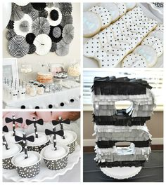 Black & White Bow Tie Themed Birthday Party via Kara's Party Ideas KarasPartyIdeas.com Cake, banners, food, desserts, cupcakes, supplies, and more! #bowtieparty #firstbirthdayboy #bowtiebirthdayparty #blackandwhite #bowtiecookies #bowtiecupcakes #partyplanning