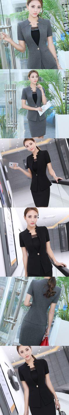 lenshin 2 pieces set gray pant suits office lady design formal