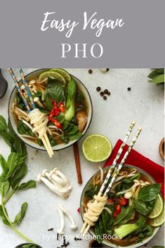 Vegan Pho (Phở) is an easier and healthier version of the traditional Vietnamese noodle soup. This nourishing and flavorful gluten-free and fat-free soup is perfect for any season! #veganpho #pho #vegetarian #healthy #glutenfree #dinner | happykitchen.rocks